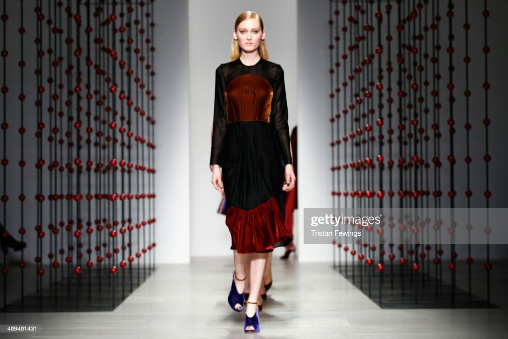 Models walk the runway at the Emilio De La Morena show at London Fashion Week AW14 at Somerset House on February 15, 2014 in London, England.