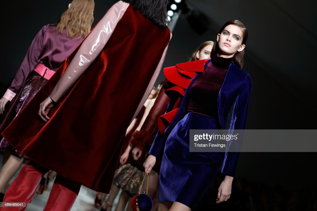 Models walk the runway at the Emilio De La Morena show during London Fashion Week AW14 at Somerset House on February 15, 2014 in London, England.
