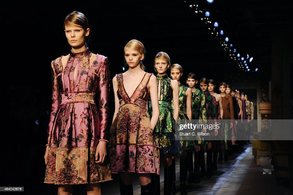 Models walk the runway at the Erdem show during London Fashion Week Fall/Winter 2015/16 at Old Selfridges Hotel on February 23 2015 in London England
