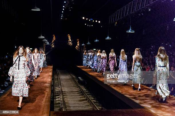 Models walk the runway at the Erdem show during London Fashion Week Spring/Summer 2016/17 on September 21 2015 in London England