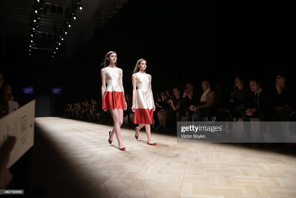 Models walk the runway at the Esme Vie show during day 1 of Aurora Fashion Week Russia AW14 on April 9, 2014 in Saint Petersburg, Russia.