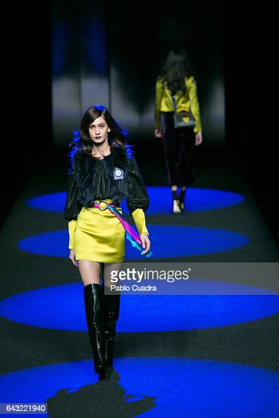 Models walk the runway at the Esther Noriega show during the MercedesBenz Madrid Fashion Week Autumn/Winter 2017 at Ifema on February 20 2017 in...
