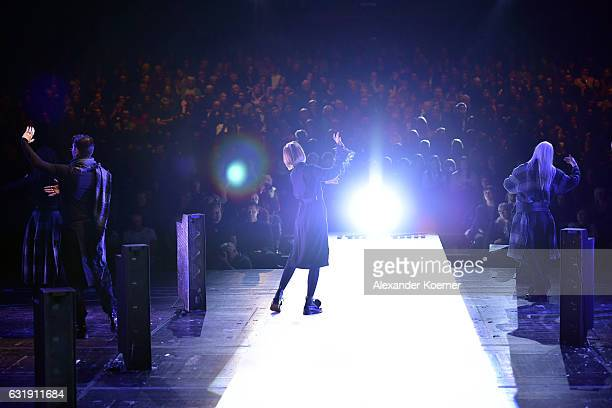 Models walk the runway at the Esther Perbandt show during the MercedesBenz Fashion Week Berlin A/W 2017 at Volksbuehne on January 17 2017 in Berlin...