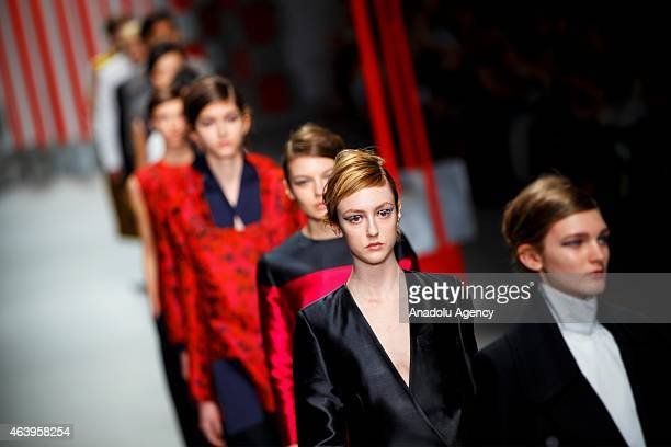 Models walk the runway at the Eudon Choi show during London Fashion Week Fall/Winter 2015/16 at Somerset House on February 20 2015 in London England