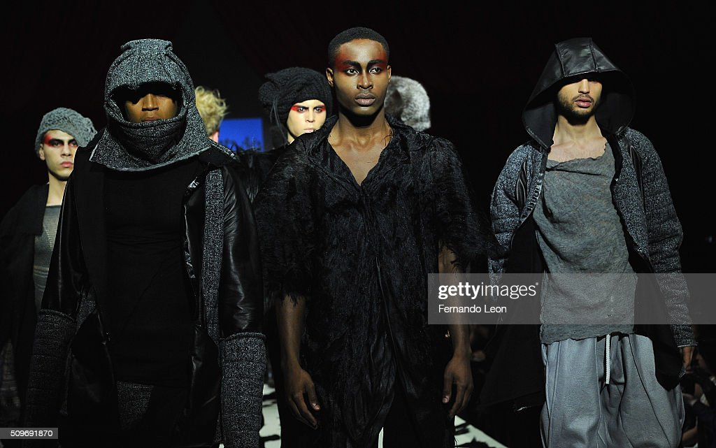 Models walk the runway at the Ev Bessar 'Firebird' fashion show during Fall 2016 New York Fashion Week at Gotham Hall on February 11, 2016 in New York City.