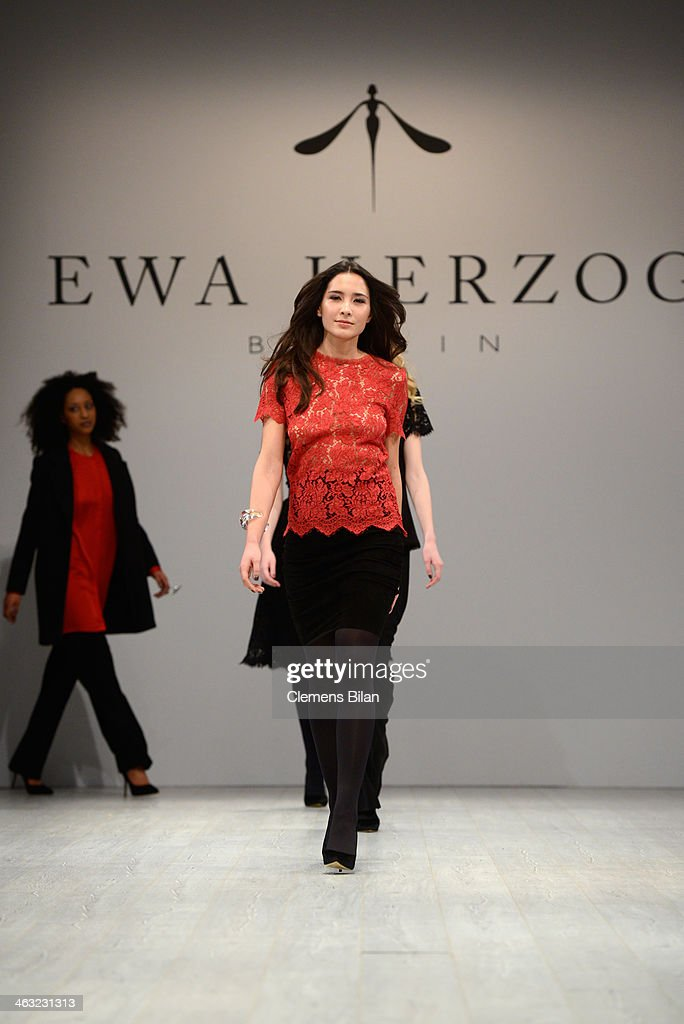 Models walk the runway at the Ewa Herzog show during Mercedes-Benz Fashion Week Autumn/Winter 2014/15 at Brandenburg Gate on January 17, 2014 in Berlin, Germany.
