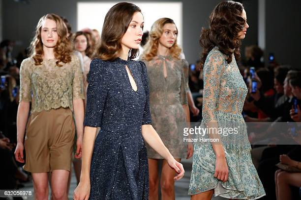 Models walk the runway at the Ewa Herzog show during the MercedesBenz Fashion Week Berlin A/W 2017 at Kaufhaus Jandorf on January 19 2017 in Berlin...