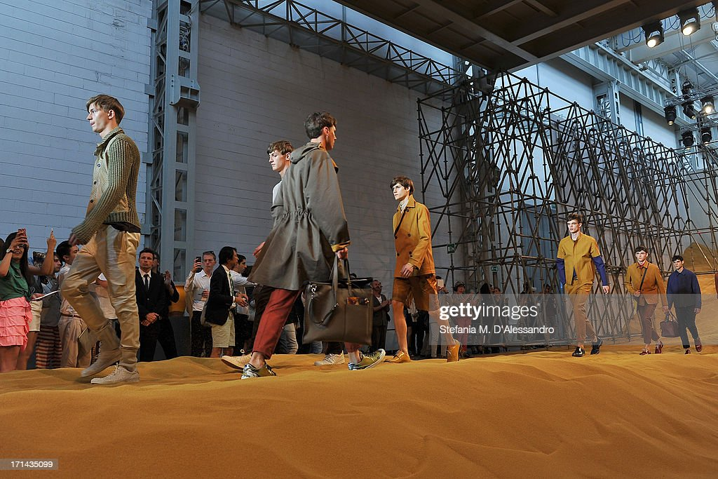 Models walk the runway at the Fendi show during Milan Menswear Fashion Week Spring Summer 2014 show on June 24, 2013 in Milan, Italy.