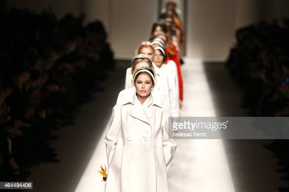 Models walk the runway at the Fendi show during the Milan Fashion Week Autumn/Winter 2015 on February 26 2015 in Milan Italy