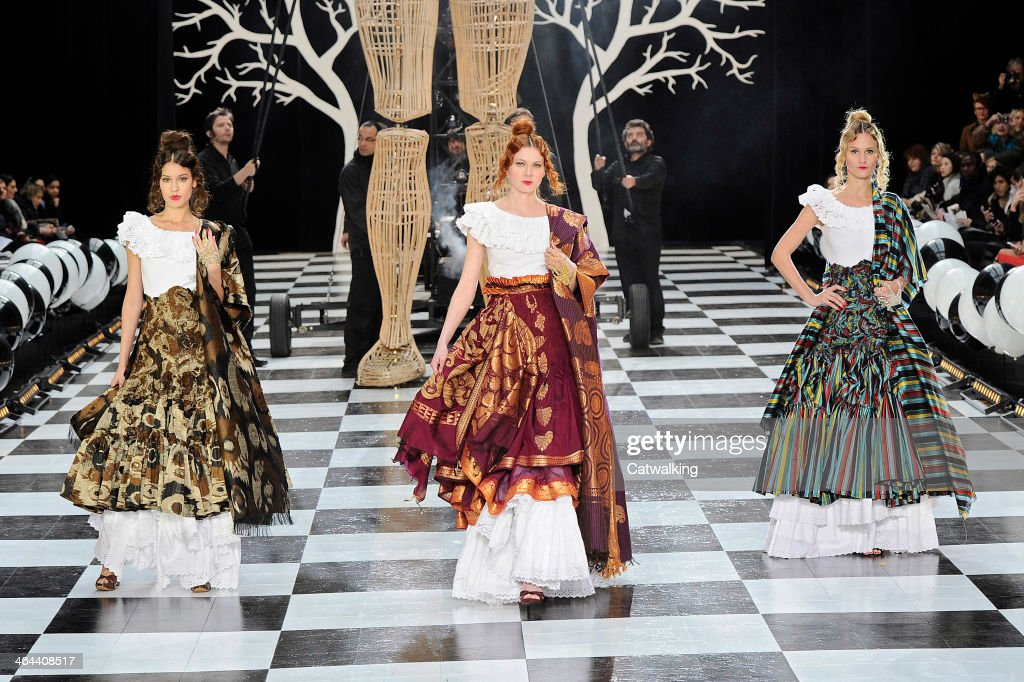 Models walk the runway at the Frank Sorbier Spring Summer 2014 fashion show during Paris Haute Couture Fashion Week on January 22, 2014 in Paris, France.