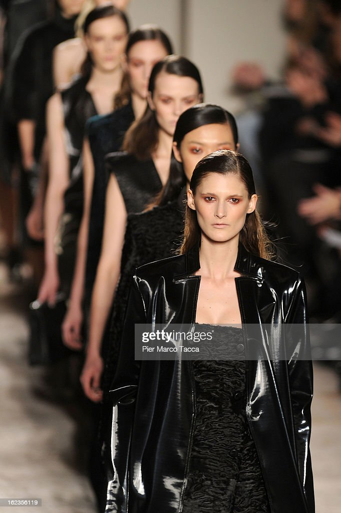 Models walk the runway at the Gabriele Colangelo fashion show during Milan Fashion Week Womenswear Fall/Winter 2013/14 on February 22, 2013 in Milan, Italy.