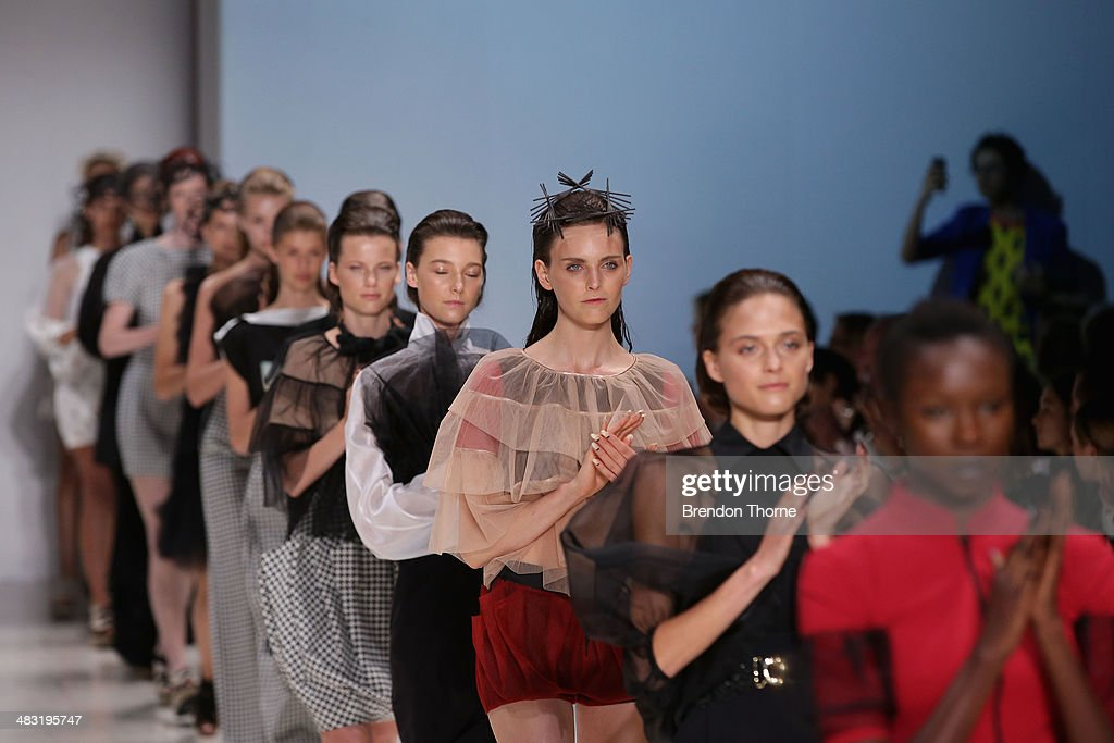 Models walk the runway at the Gail Sorronda show during Mercedes-Benz Fashion Week Australia 2014 at Carriageworks on April 7, 2014 in Sydney, Australia.