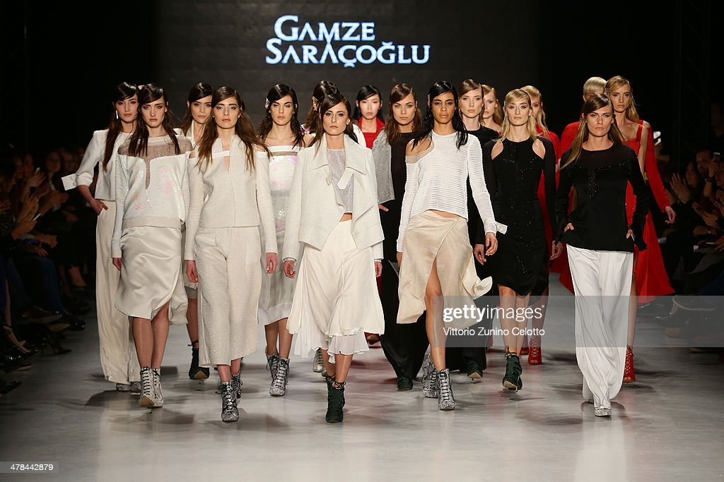 Models walk the runway at the Gamze Saracoglu show during MBFWI presented by American Express Fall/Winter 2014 on March 13, 2014 in Istanbul, Turkey.