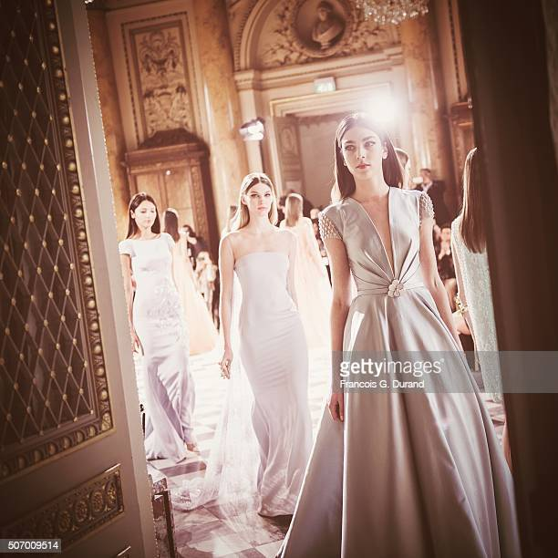 Models walk the runway at the Georges Hobeika Haute Couture show Spring/Summer 2016 Fashion Show as part of Paris Fashion Week at Monnaie de Paris on...