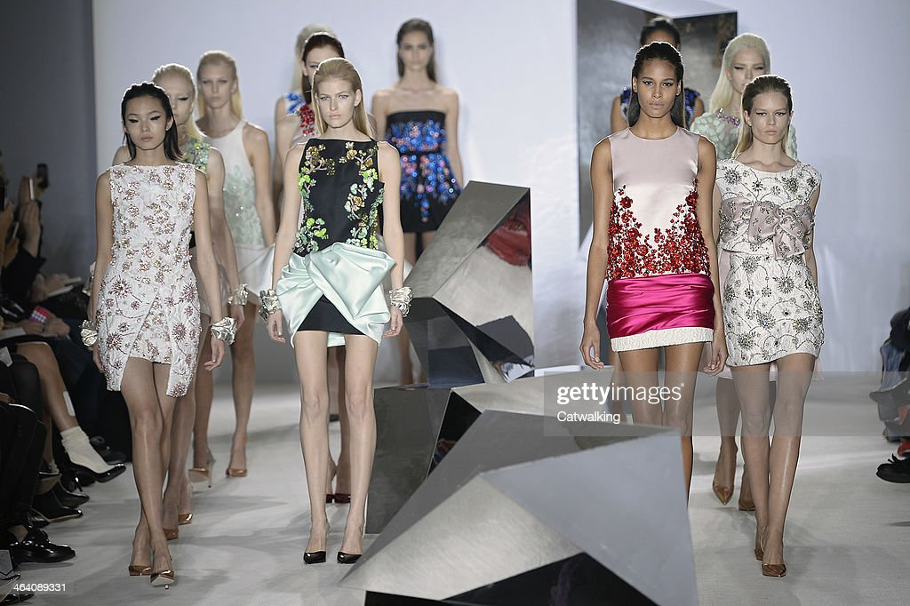 Models walk the runway at the Giambattista Valli Spring Summer 2014 fashion show during Paris Haute Couture Fashion Week on January 20, 2014 in Paris, France.