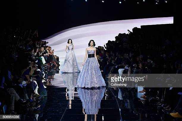 Models walk the runway at the Giorgio Armani Prive Spring Summer 2016 fashion show during Paris Haute Couture Fashion Week on January 26 2016 in...