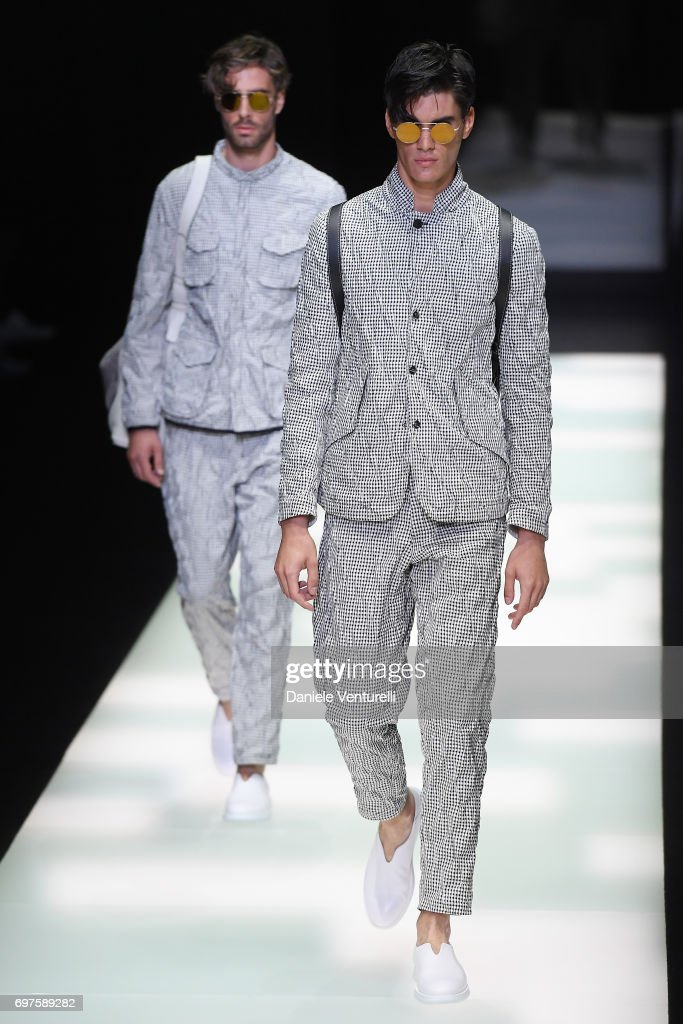 Models walk the runway at the Giorgio Armani show during Milan Men's Fashion Week Spring/Summer 2018 on June 19, 2017 in Milan, Italy.