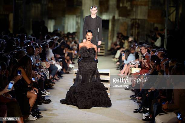 Models walk the runway at the Givenchy Spring Summer 2016 fashion show during New York Fashion Week on September 11 2015 in New York United States