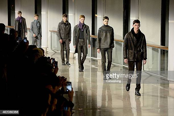Models walk the runway at the Hermes Autumn Winter 2015 fashion show during Paris Menswear Fashion Week on January 24 2015 in Paris France
