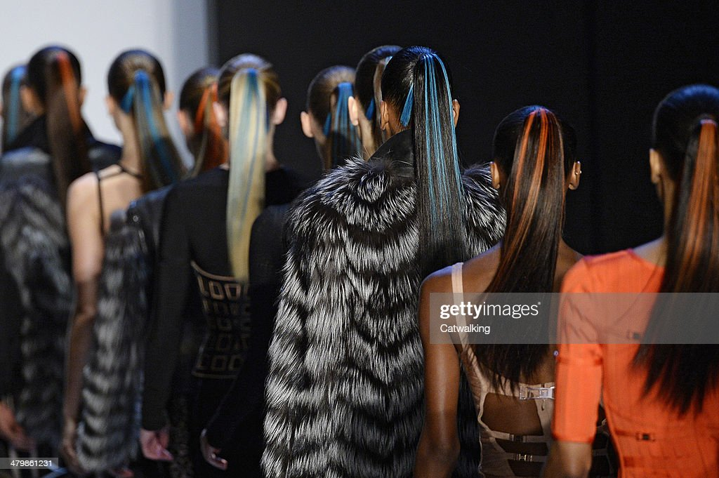 Models walk the runway at the Herve Leger by Max Azria Autumn Winter 2014 fashion show during New York Fashion Week on February 8, 2014 in New York, United States.