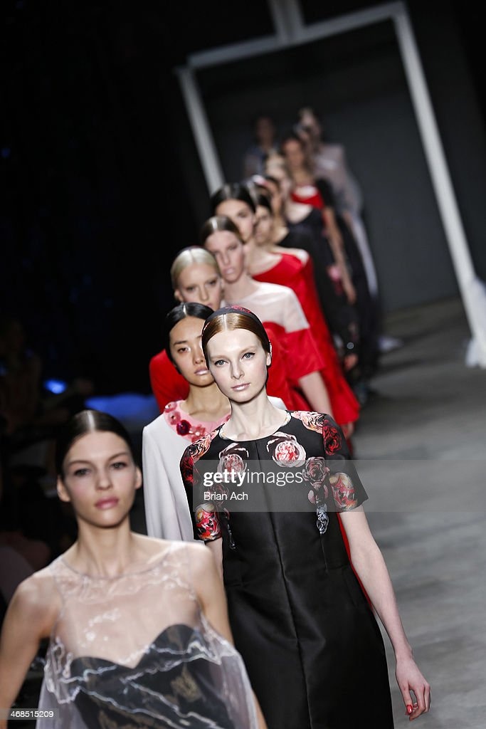 Models walk the runway at the Honor fashion show during Mercedes-Benz Fashion Week Fall 2014 at Eyebeam on February 10, 2014 in New York City.
