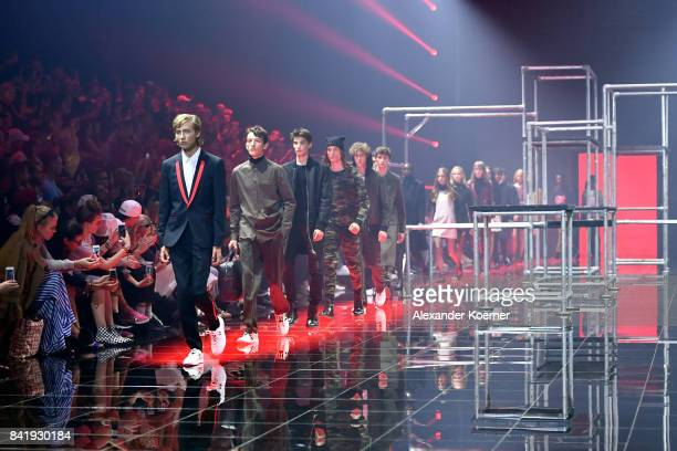Models walk the runway at the Hugo show during the Bread Butter by Zalando at BB Stage arena Berlin on September 2 2017 in Berlin Germany