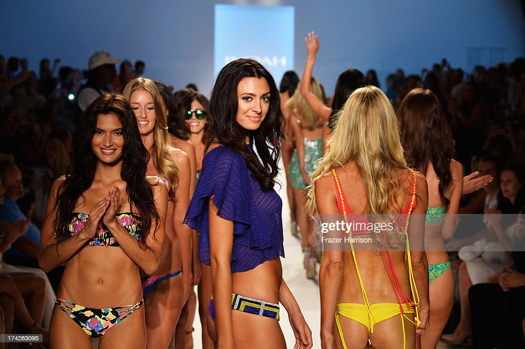 Models walk the runway at the Indah show during Mercedes-Benz Fashion Week Swim 2014 at Cabana Grande at the Raleigh on July 22, 2013 in Miami, Florida.