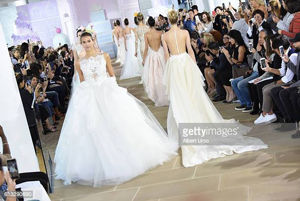 Models walk the runway at the Ines Di Santo show during New York Fashion Week Bridal at The IAC Building on October 7 2016 in New York City