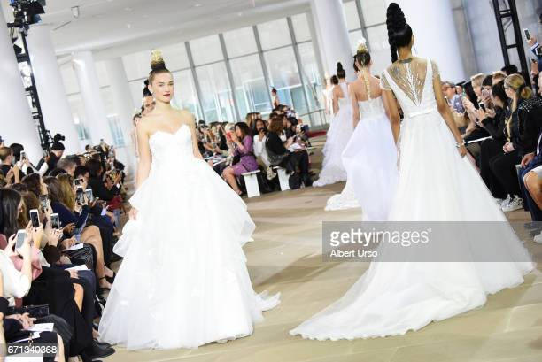 Models walk the runway at the Ines Di Santo show during New York Fashion Week Bridal at The IAC Building on April 21 2017 in New York City