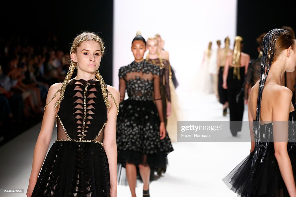Models walk the runway at the Irene Luft show during the Mercedes-Benz Fashion Week Berlin Spring/Summer 2017 at Erika Hess Eisstadion on July 1, 2016 in Berlin, Germany.