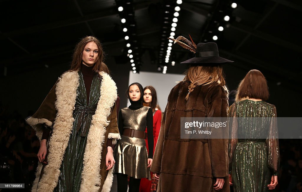 Models walk the runway at the Issa London show during London Fashion Week Fall/Winter 2013/14 at Somerset House on February 16, 2013 in London, England.