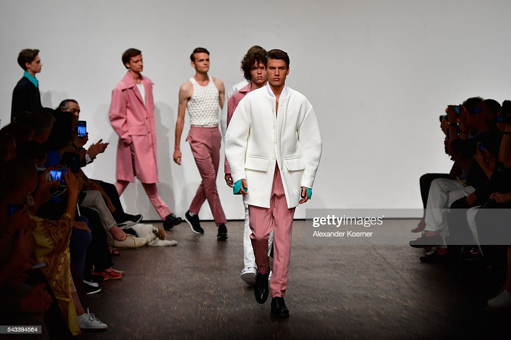 Models walk the runway at the Ivanman show during the Mercedes-Benz Fashion Week Berlin Spring/Summer 2017 at Stage at me Collectors Room on June 28, 2016 in Berlin, Germany.