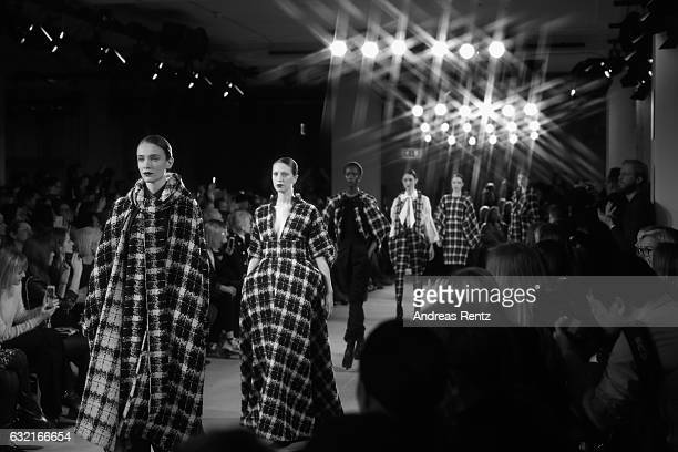 Models walk the runway at the I'Vr Isabel Vollrath show during the MercedesBenz Fashion Week Berlin A/W 2017 at Kaufhaus Jandorf on January 20 2017...