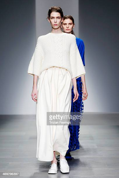 Models walk the runway at the J JS Lee show at London Fashion Week AW14 at Somerset House on February 14 2014 in London England