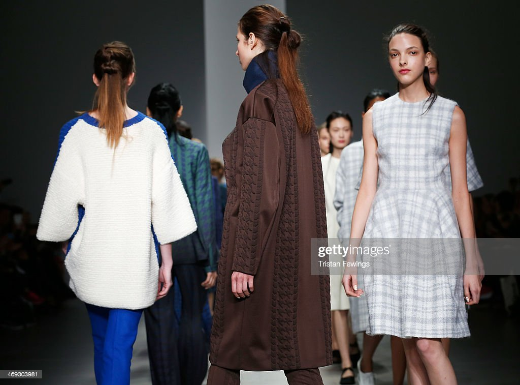 Models walk the runway at the J. JS Lee show at London Fashion Week AW14 at Somerset House on February 14, 2014 in London, England.