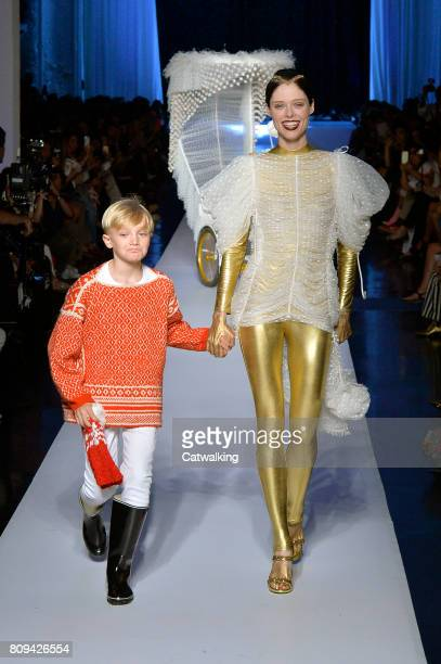 Models walk the runway at the Jean Paul Gaultier Autumn Winter 2017 fashion show during Paris Haute Couture Fashion Week on July 5 2017 in Paris...