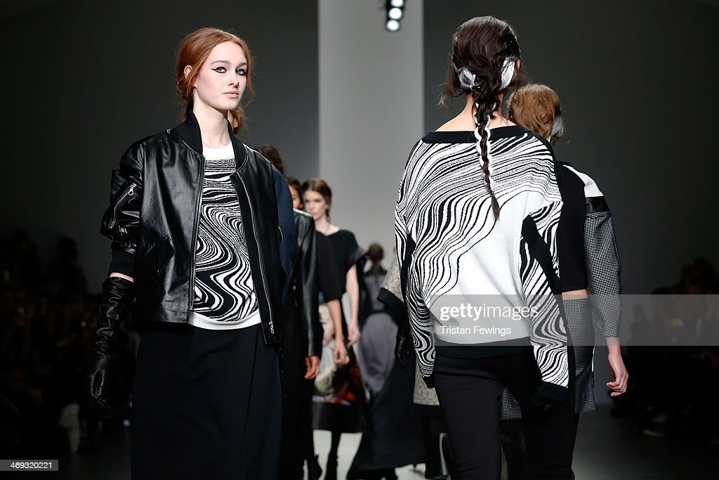 Models walk the runway at the Jean-Pierre Braganza show at London Fashion Week AW14 at Somerset House on February 14, 2014 in London, England.
