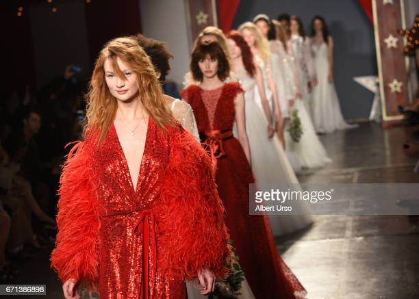 Models walk the runway at the Jenny Packham show during New York Fashion Week Bridal on April 21 2017 in New York City