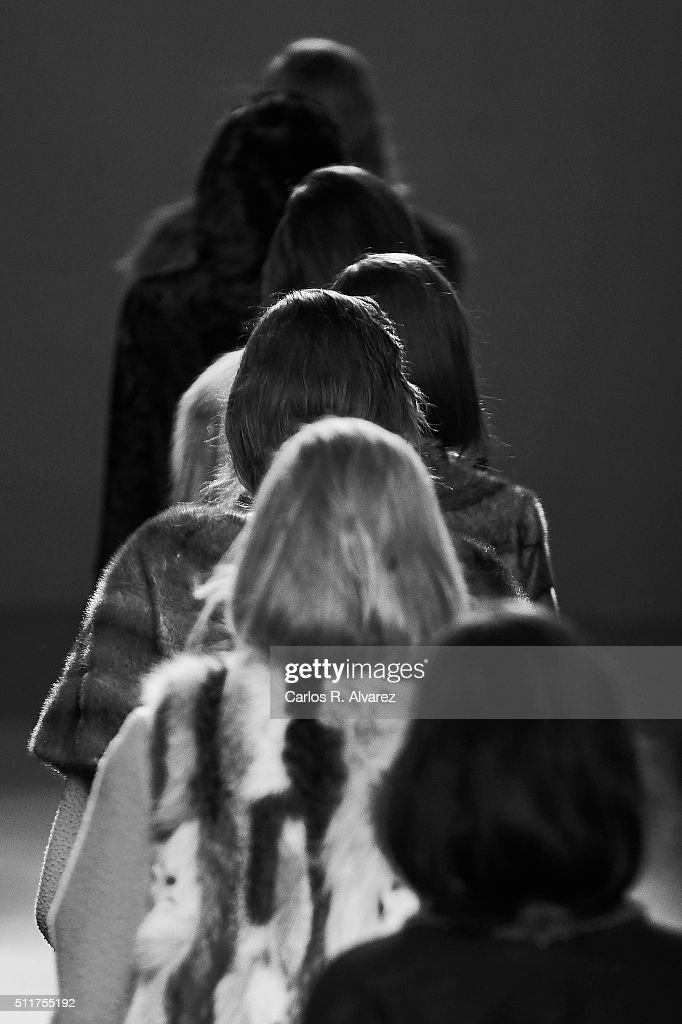 Models walk the runway at the Jesus Lorenzo show during the MercedesBenz Madrid Fashion Week Autumn/Winter 2016/2017 at Ifema on February 22 2016 in...