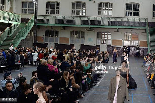 Models walk the runway at the John Galliano Autumn Winter 2016 fashion show during Paris Fashion Week on March 6 2016 in Paris France