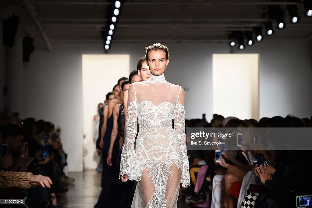 Models walk the runway at the Jonathan Simkhai fashion show during Fall 2016 MADE Fashion Week at Milk Studios on February 14, 2016 in New York City.