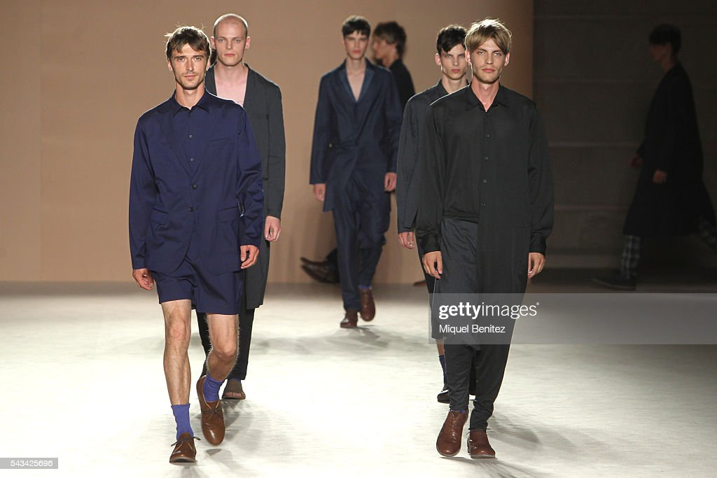 Models walk the runway at the Josep Abril show during the Barcelona 080 Fashion Week Spring/Summer 2017 at the INEFC Institut Nacional de Educacio Fsica de Catalunyaon June 28, 2016 in Barcelona, Spain.