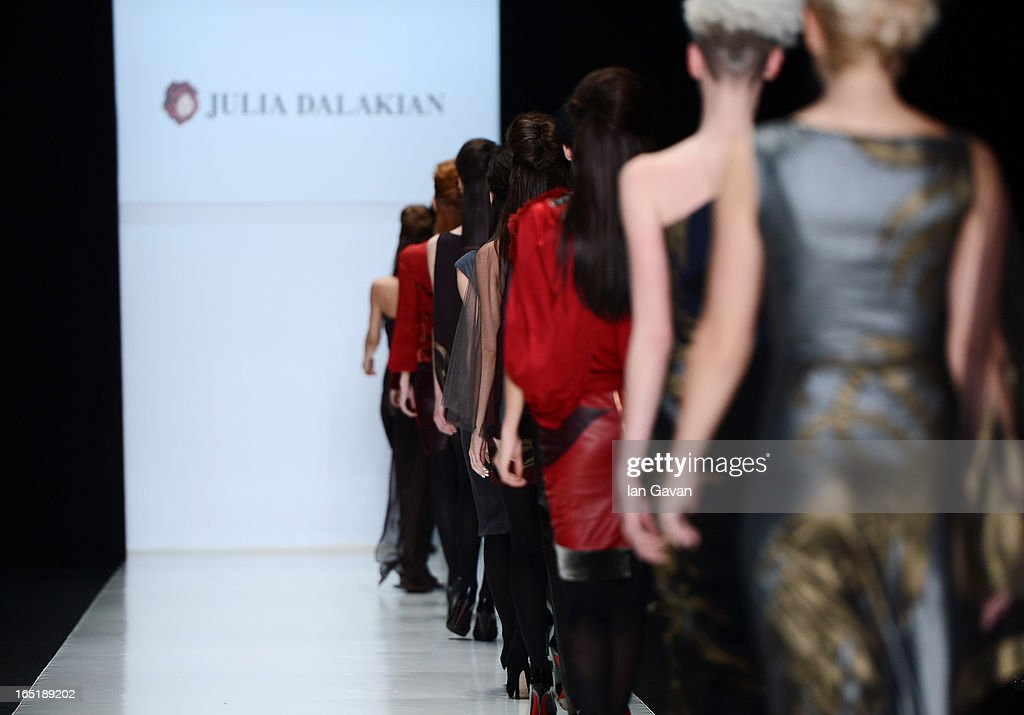 Models walk the runway at the Julia Dalakian show during Mercedes-Benz Fashion Week Russia Fall/Winter 2013/2014 at Manege on April 1, 2013 in Moscow, Russia.