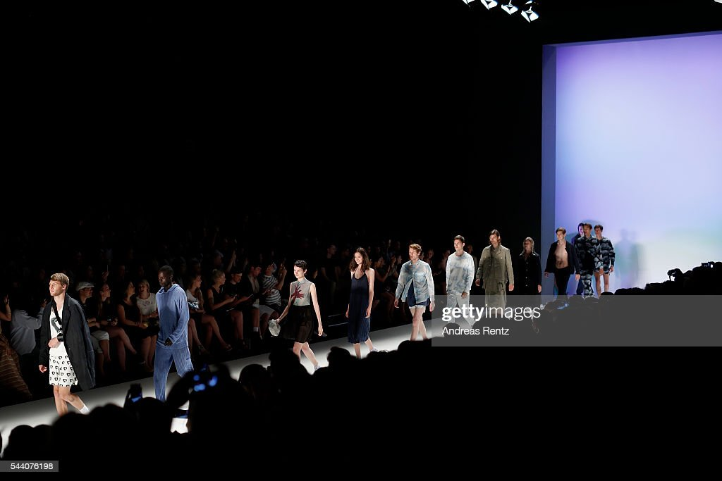 Models walk the runway at the Julian Zigerli show during the Mercedes-Benz Fashion Week Berlin Spring/Summer 2017 at Erika Hess Eisstadion on July 1, 2016 in Berlin, Germany.