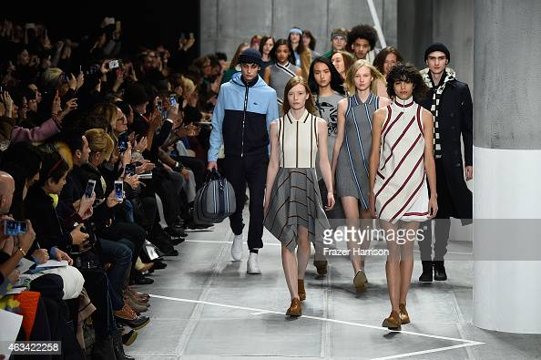 Models walk the runway at the Lacoste fashion show during MercedesBenz Fashion Week Fall 2015 at The Theatre at Lincoln Center on February 14 2015 in...