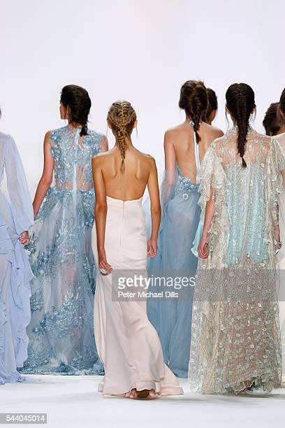Models walk the runway at the Lana Mueller show during the MercedesBenz Fashion Week Berlin Spring/Summer 2017 at Erika Hess Eisstadion on July 1...