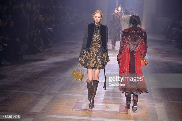 Models walk the runway at the Lanvin Autumn Winter 2015 fashion show during Paris Fashion Week on March 5 2015 in Paris France
