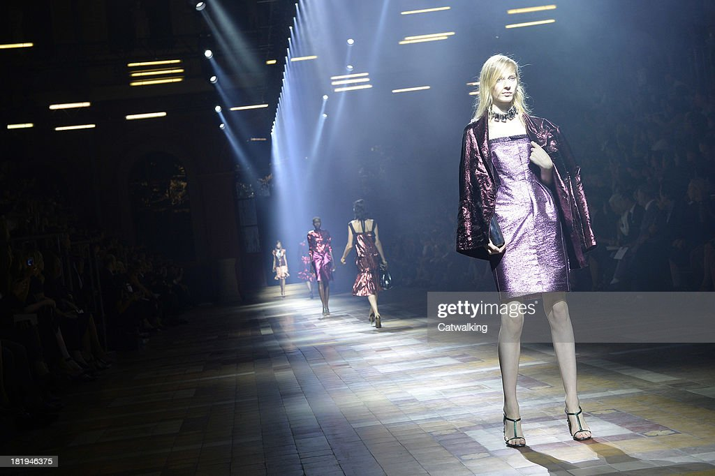 Models walk the runway at the Lanvin Spring Summer 2014 fashion show during Paris Fashion Week on September 26, 2013 in Paris, France.