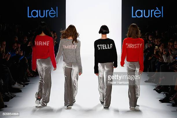 Models walk the runway at the Laurel show during the MercedesBenz Fashion Week Berlin Autumn/Winter 2016 at Brandenburg Gate on January 20 2016 in...