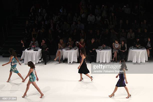 Models walk the runway at the Lavazza presents from Italy with passion show during MercedesBenz Fashion Festival Sydney at Sydney Town Hall on...